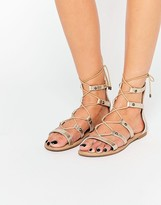 Call it SPRING Charilyn Champagne Ghillie Lace Up Flat Sandals