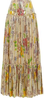 Etro Pleated Metallic Floral-print Silk-blend Jacquard Maxi Skirt