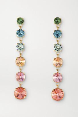 Roxanne Assoulin Technicolor Mini Drip Drop Gold-plated Swarovski Crystal Earrings - Pink