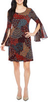 MSK 3/4 Split Bell Sleeve Print Shift Dress