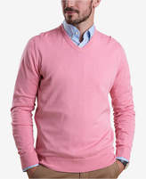 Barbour Men's Clyde Medium Pink V-Neck Sweater with Tartan Elbow Patches