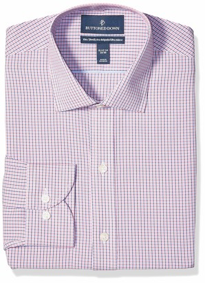 """Buttoned Down Xtra-slim Fit Pattern Non-iron Dress Shirt Berry/Red/Navy Tattersall Micro Check 17"""" Neck 38"""" Sleeve"""