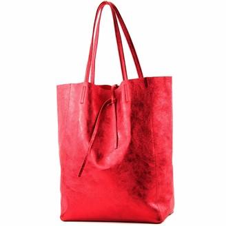 modamoda de - ital. Leather bag Ladies bag Shopper bag Large shoulder bag leather T163