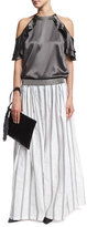 Brunello Cucinelli Paillette Striped Wide-Leg Pants, White
