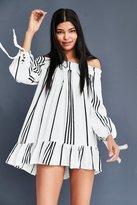 Faithfull The Brand Striped Off-The-Shoulder Mini Dress
