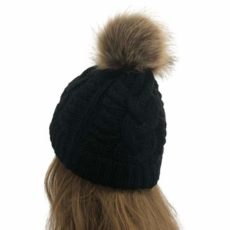 Kalorywee Womens Turban Hats KaloryWee Womens Beanies Hats Winter Rib Knitted Hat Girls Wool with Large Pom Pom Detachable Chunky Faux Fur Cap SKI Snowboard Hats Bobble for Outdoor Camping Ski Caps Black