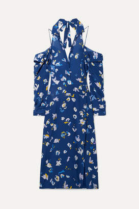 Altuzarra Chiara Cold-shoulder Floral-print Silk Crepe De Chine Midi Dress - Blue