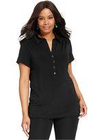 Alfani Plus Size Short-Sleeve Solid Polo Shirt