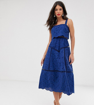 Asos Tall DESIGN Tall broderie cami midi prom dress with lace inserts
