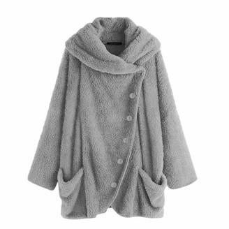 DEELIN 2019 Sale Women's Coats Winter Casual Solid Turtleneck Button Big Pockets Cloak Coats Vintage Coats Plush Warm Outwear Overcoat Plus Size(Hot Pink 3XL)