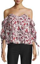 Caroline Constas Gabriella Off-the-Shoulder Bird & Floral Bustier Top, Red Pattern