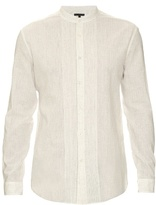 John Varvatos Pleated-bib Linen And Cotton-blend Shirt