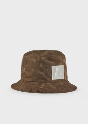 Emporio Armani Cloche Hat With All-Over Logo And Patch