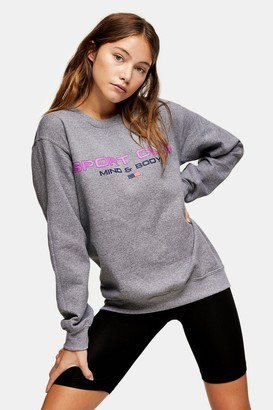Topshop Womens Grey Marl Sports Club Sweatshirt - Grey Marl