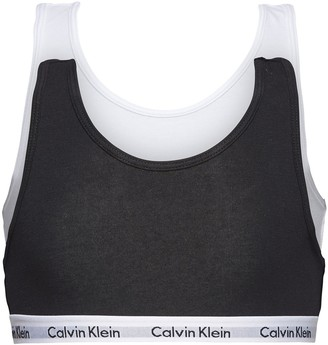 Calvin Klein Girls 2 Pack Bralettes - White/Black