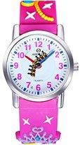 Jewtme Kids' JW0052 crown Pattern Silicone Strap Cartoon Watch Pink