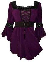 Xjw Women Fashion Mm Big Size Ribbon with Trumpet Sleeves Cotton Shirt (S - 5xl) (xxxl, )