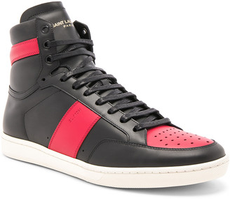 Saint Laurent Signature Court Classic SL/10H Leather High Top Sneakers in Black & Red | FWRD