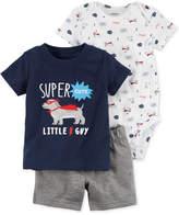 Carter's 3-Pc. Cotton Super Little Guy T-Shirt, Bodysuit & Shorts Set, Baby Boys