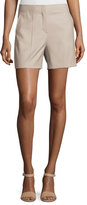 Theory Masibeth Continuous Wool-Blend Shorts, Gray Khaki