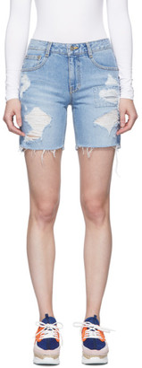 Sjyp Blue Denim Patched Shorts