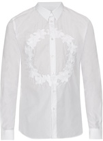 Givenchy Floral-crown Embroidered Cotton Shirt