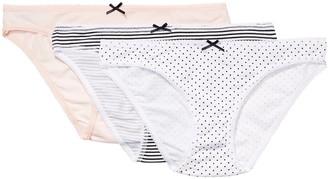 Iris & Lilly Women's Cotton Bikini Knicker Pack of 3 Multicoloured (Soft Pink/Print) X-Large