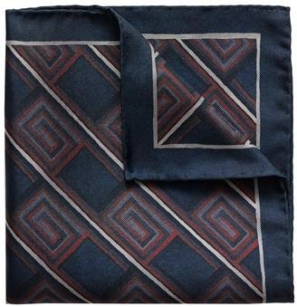 Eton Navy & Red Geometric Print Silk Pocket Square