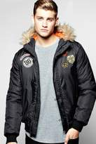 Boohoo Fur Hooded Badged MA1 Bomber