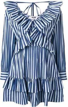 MSGM striped ruffle mini dress