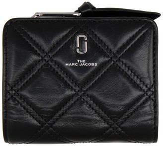 Marc Jacobs Black Mini The Quilted Softshot Compact Wallet