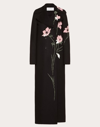 Valentino Embroidered Compact Drap Coat Women Multicolored Virgin Wool 95%, Cashmere 5% 38