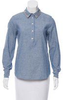 Kate Spade Jewel-Embellished Chambray Blouse