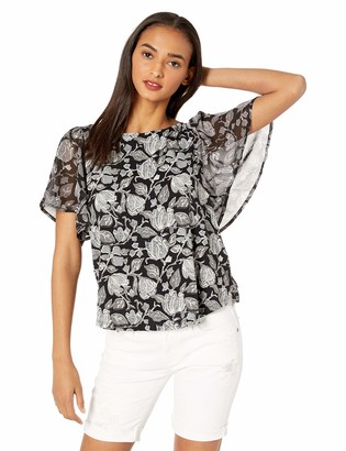Lucky Brand Women's Printed Woven Mix TOP with Back Keyhole