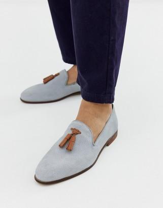 KG by Kurt Geiger Kg Kurt Geiger loafers in blue suede with contrast tassel detail