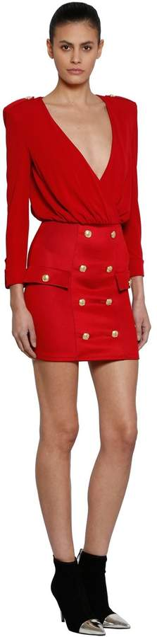 Balmain Jersey Dress With Buttons