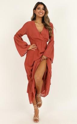 Showpo Speaking True Dress in rust - 4 (XXS) Dresses