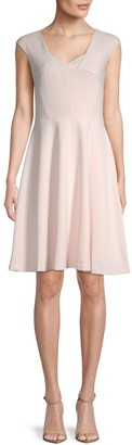 Calvin Klein Collection Cap-Sleeve Fit-&-Flare Dress