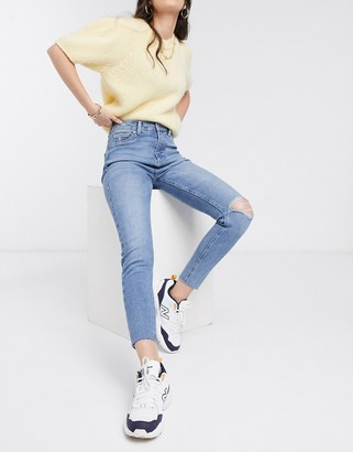 New Look high waist disco skinny jeans with rips in mid blue