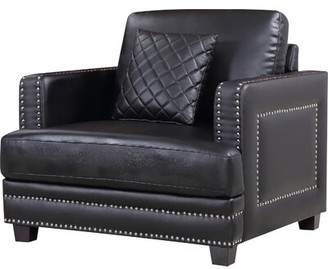 "Willa Arlo Interiors Kia 40"" W Faux Leather Club Chair Fabric: Black Faux Leather"