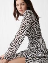 Maje Printed black and white asymmetric dress