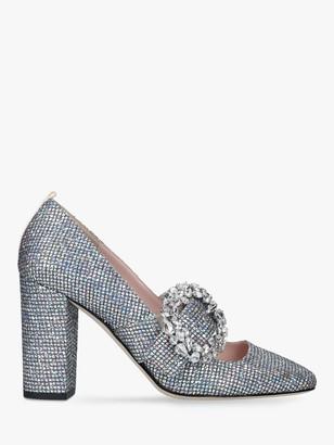 Sarah Jessica Parker Celine Block Heel Court Shoes, Silver