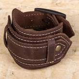 Unisex Dark Brown Leather Wristband Bracelet with Buckle, 'Rugged Brown'
