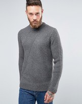 Asos Sweater in Wool Mix with Mixed Ribs