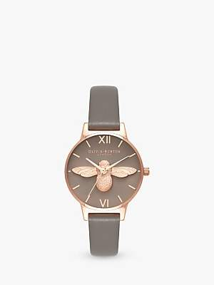 Olivia Burton OB16AM148 Women's Bee Leather Effect Strap Watch, Grey