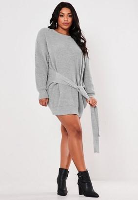 Missguided Size Grey Tie Waist Jumper Dress
