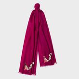 Paul Smith Women's Dark Fuchsia Embroidered 'Lemur' Wool Scarf
