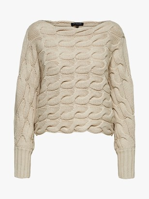 Selected Carma Cable Knit Jumper, Neutral