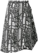 Chalayan asymmetric graphic print skirt
