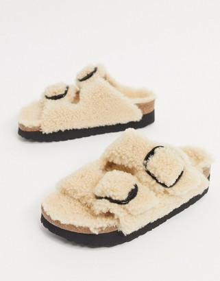 Birkenstock Papillio Arizona Big Buckle flatform sandals in teddy